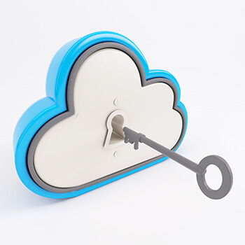 Cloud with key hovering in front of keyhole