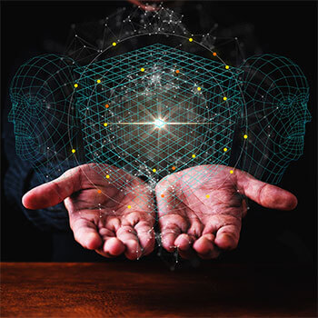 two hands holding a floating cloud communication galaxy